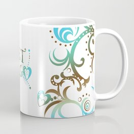 Let Go in Blue Turquoise and Brown Coffee Mug