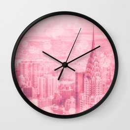 Pink and Bubbly New York City Wall Clock