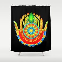 hamsa hand multi fingered and colored Shower Curtain