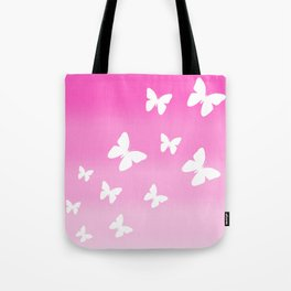 Pink Butterfly Ombre Fade Tote Bag
