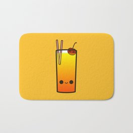 Cute booze-tropical cocktail with cherry Bath Mat