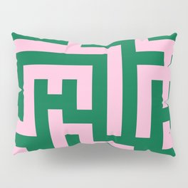 Cotton Candy Pink and Cadmium Green Labyrinth Pillow Sham