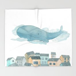 A whale in the sky Throw Blanket