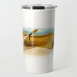 Shore Time, rowboat, boat, seashore, beach Travel Mug