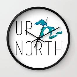 UP NORTH with watercolor great lakes Wall Clock