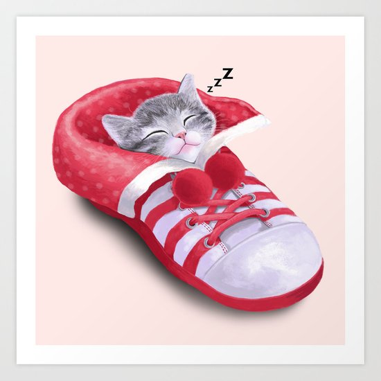 Cat in the Shoe Art Print