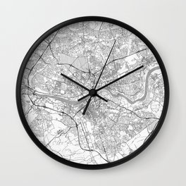 Newcastle upon Tyne Map Line Wall Clock