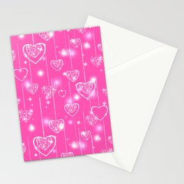 Openwork hearts on a bright pink background Stationery Cards