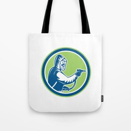 Pest Control Exterminator Spraying Circle Retro Tote Bag