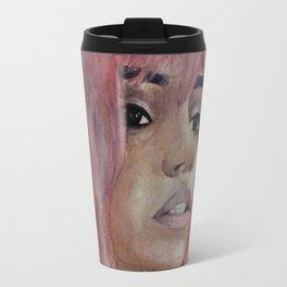 Girl with pink hair. Watercolor art Travel Mug