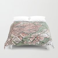 denmark Duvet Covers featuring Vintage Map of Copenhagen Denmark (1888) by BravuraMedia