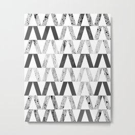 Triangles and Textures, monochrome Metal Print