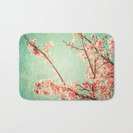 Pink Autumn Leafs on Blue Textured Sky (Vintage Nature Photography) Bath Mat
