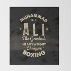 Boxing Ali Canvas Throw Blanket