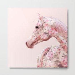 FLORAL HORSE Metal Print