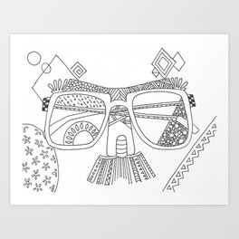 Glasses with moustache Art Print