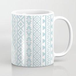 Aztec Stylized Pattern Duck Egg Blue & White Coffee Mug