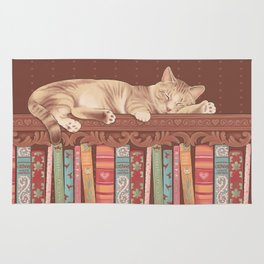 Cat in the library Rug