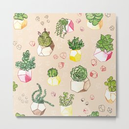 Happy Cacti, Succulents and Polygons Metal Print