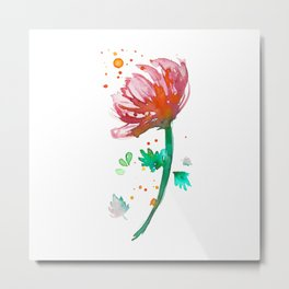 Warm Watercolour Fiordland Flower Metal Print