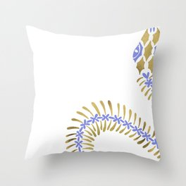 Snake Skeleton – Periwinkle & Gold Throw Pillow