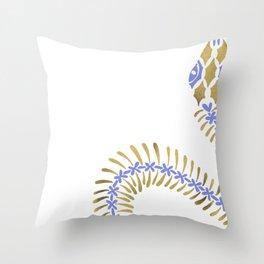Snake Skeleton – Periwinkle & Gold Throw Pillow