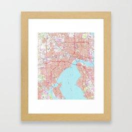 Vintage Map of Jacksonville Florida (1964) Framed Art Print