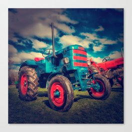Cool Blue Red Vintage Tractor Canvas Print