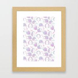 Spring Hedgehog Pattern Framed Art Print