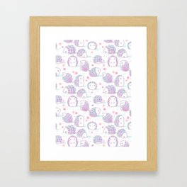Spring Hedgehog Pattern Framed Art Print