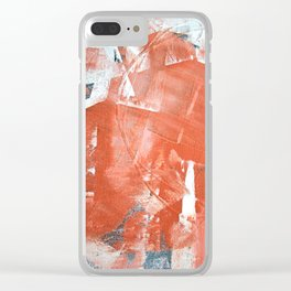 Interrupt [1]: a pretty minimal abstract acrylic piece in pink white and blue by Alyssa Hamilton Art Clear iPhone Case