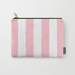 Vertical Stripes - White and Pink Carry-All Pouch