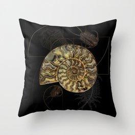 Ammonite Trilobite Fibonacci Spiral Throw Pillow