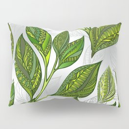 Seamless Pattern with Green Tea Leaves Pillow Sham