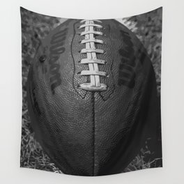 Big American Football - black &white Wall Tapestry