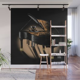 Piano and cat Wall Mural