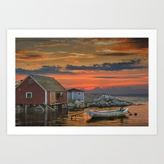 Last Light at Peggy's Cove Harbor Art Print