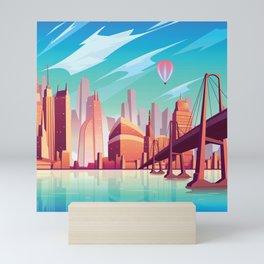 San Francisco Bay in Midcentury Style Mini Art Print