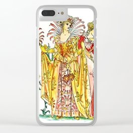 Vintage Tiger-Lily Lady Goddess Clear iPhone Case