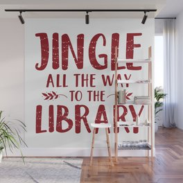 Jingle All The Way To The Library (Red) Wall Mural