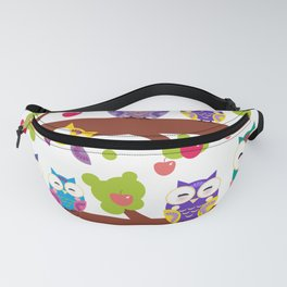 bright colorful owls on the branch of a tree with red apples Fanny Pack