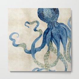 Indigo Ocean Octopus Blue n Tan Watercolor Metal Print
