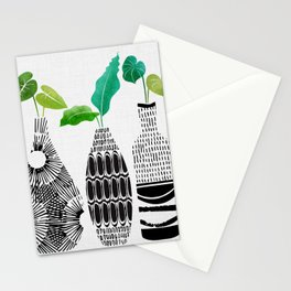 Black and White Tribal Vases Stationery Cards