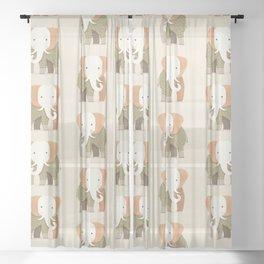 Whimsical Elephant Sheer Curtain