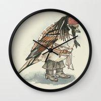 jack sparrow Wall Clocks featuring Captain Jack Sparrow by victorygarlic