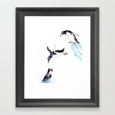 Jumping Penguin Framed Art Print