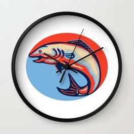 Atlantic Salmon Fish Jumping Retro Wall Clock
