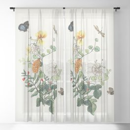 Botanical Painting - Still Wild and Free Sheer Curtain
