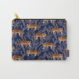 Bengal Tiger and Vines - Blue Carry-All Pouch