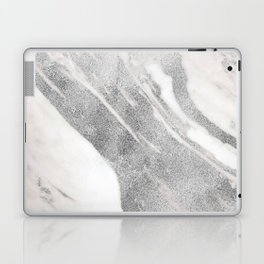 Marble - Silver Glitter on White Metallic Marble Pattern Laptop & iPad Skin